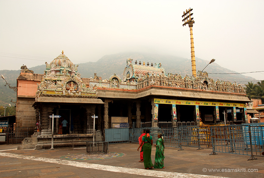 "Inside is the sanctum with holy Arunachala in the background. This the First Prakaram encloses the Garbagraha of Sri Arunachaleswarar, the main deity of the temple. ""He has got many names. The popular Tamil Name is Annamalaiyar. Other names are Sonachaleswarar, Arunagiriswarar, Sounadriswarar,Bhaktapasavimochakar,Vedamurthi."""