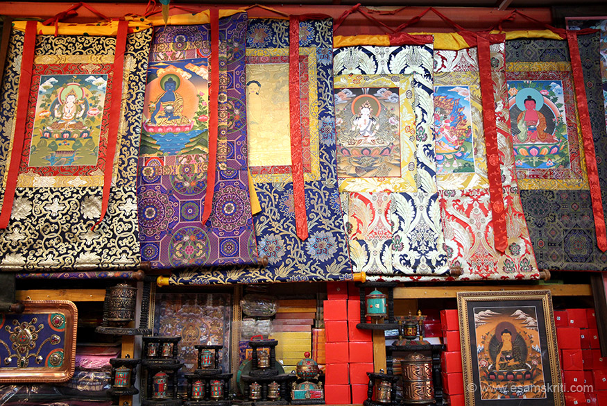 "THANKA paintings in main market Leh. To see pics of Children of Arunachal Pradesh <a href=""http://www.esamskriti.com/photo-detail/Children-of-Arunachal-Pradesh.aspx"" target=""_blank"">Click here</a>"