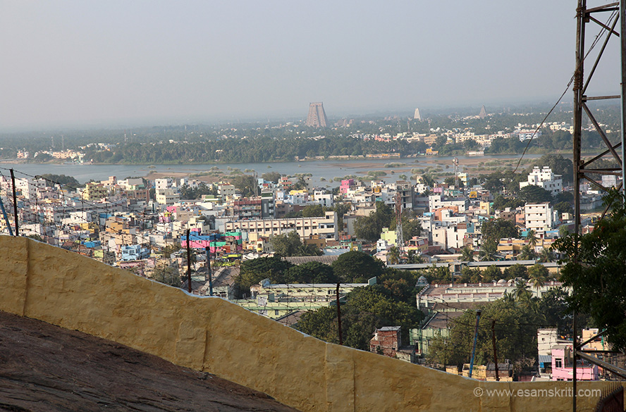 View of Rajagopuram from Rock Fort temple. It is 236 feet high, a 13 tired Gopuram, made in 1987 and the largest in South India. 20 other gopurams were built between the 14-17th centuries."