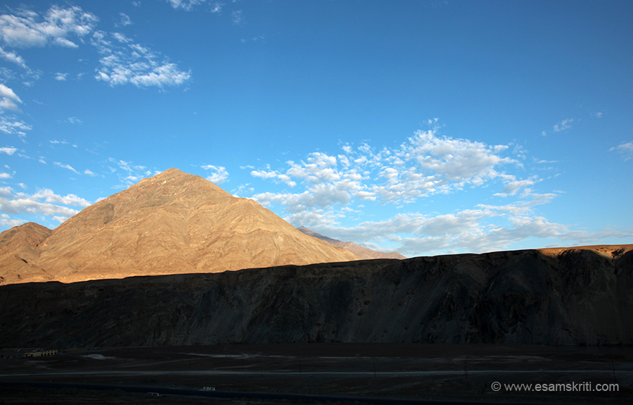 We left Leh at 6.15am. It was beautiful weather in the month of August 2016. This album has landscape pics taken during drive and important places along the way. Took this pic near Sangam i.e.