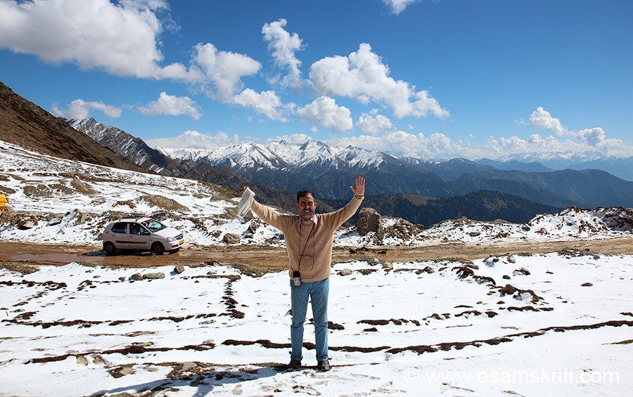 At Sinthan Top 12,450 feet. It is 72 kms from Anantnag in Kashmir Valley and 83 kms from Kishtwar in Jammu region. Shall always remember this drive  fondly. We visited Oct 2014.
