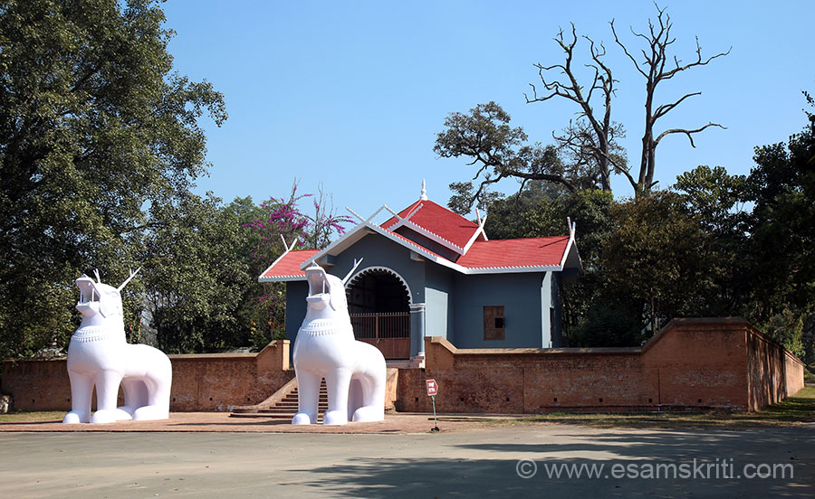 Kangla was the sacred capital of the ancient state of Manipur. The Ningthouja dynasty had unbroken rule from 33 A.D. to the 19th century, must be a record in India. The State fell into the hands of the British on 24/4/1891. Kangla Fort is unlike the forts of Rajasthan, not situated on top of a hill. U see entrance to the fort. Two animals in front are called Kangla Sha - a lion