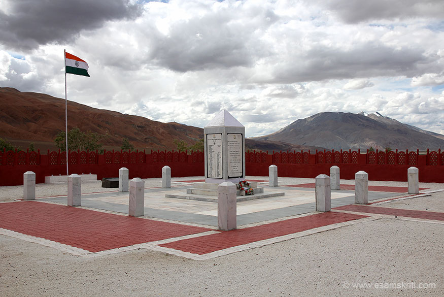 "Overview of Rezang La War Memorial Chushul in Ladakh. ""114 brave men of the 13th Kumaon Regiment's Charlie company made the supreme sacrifice fighting the invading Chinese at Rezang La pass at 16000 feet.""
