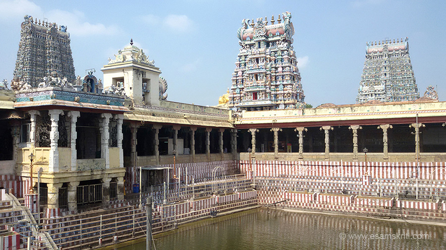 "View of Golden Lily Tank with gopurams on west and north (right of pic). Both the Meenakshi and Sundareswarar shrines have gold plated Vimanam (tower over sanctum)."" Centre of pic u