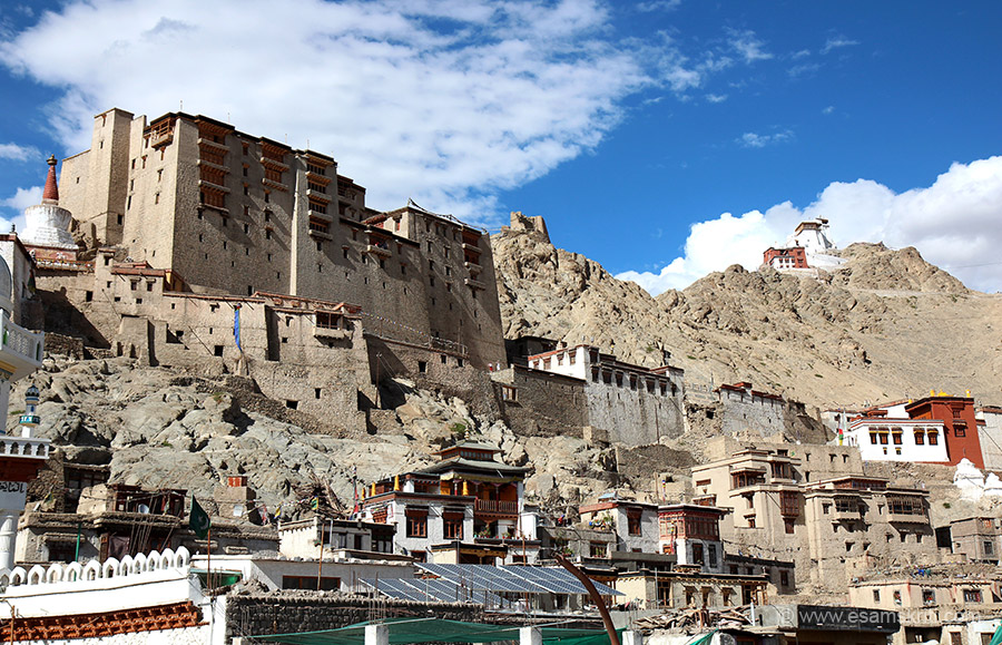 View of Leh Palace from the second floor of a cafeteria in main market Leh. U can walk up from the market or go at base of hill in car. The palace overlooks the town. The hill on which the