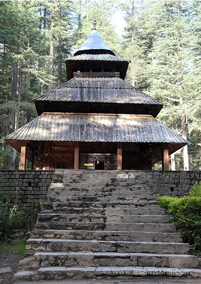 Hidimba Devi Mandir Manali. According to tradition she was the wife of third Pandava Bhim. The temple is about a 15 minute walk from Mall road. Temple is made of wood, made by Raja Bahadur