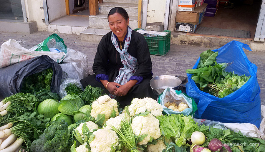 During a 10 day trip to Ladakh in August 2016 took these pics. Most women do not allow you to click their pics. This one was sporting. She sits in Ladakh main market. Look at the size of the