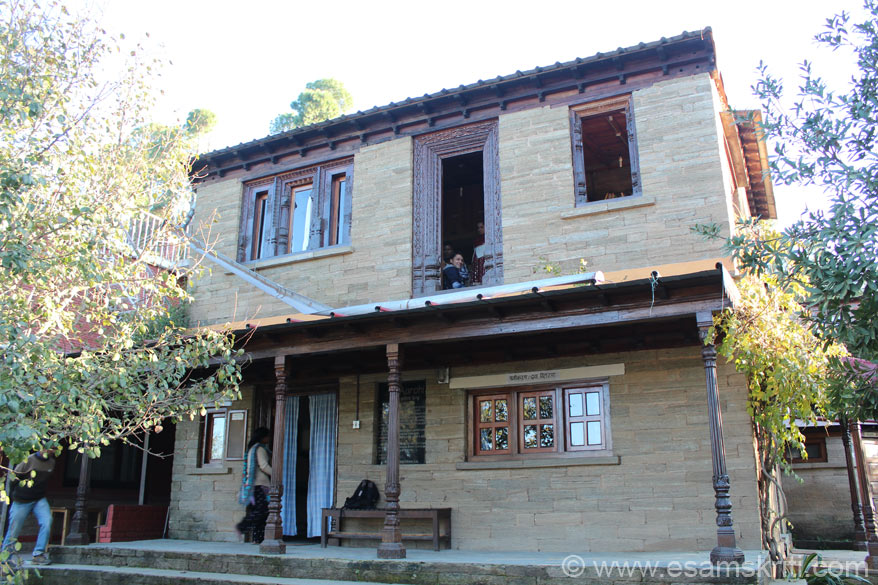 Office bldg of NGO Aarohi. They are involved in health, education, livelihood, natural resource mgmt etc. It is about 2 hours drive from Almora or about an hour from Mukteshwar.