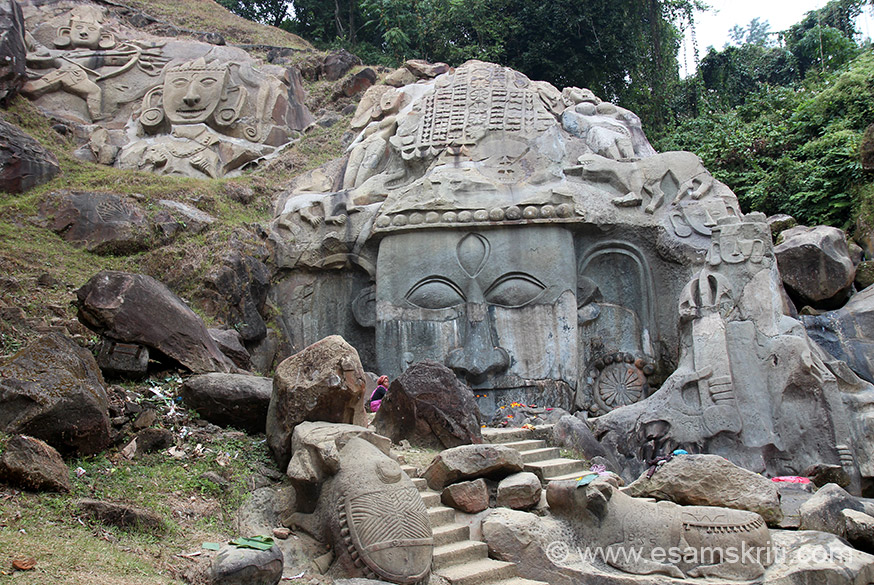 I had seen bas relief sculptures of Unakoti so was vvhappy when went there in December 2014. Unakoti means one less than a crore is an exaggeration of the representation of Shiva 