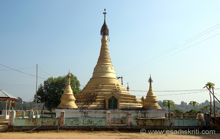"This is Mahamuni Pagoda at Manu Bankul, 134 kms from Agartala. ``Traditional Mahamuni and Owha festivals, originally a Buddhist festival, but nowadays one of the most cheery festivals of the state come off every year with spontaneous participation from people. During the festival Lord Buddha is worshipped in the monastery by Buddhist and Hindu Communities."" 