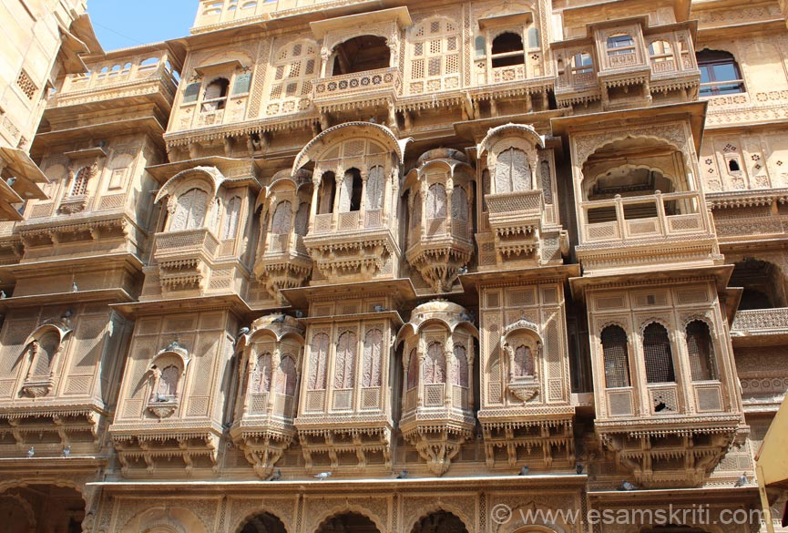 Rajasthan is well known for its havelis esp. those in Jaisalmer. Most famous one is Patwa ki haweli that you see, Diwan Nathmal``s Haveli (not as big and impressive) and Salim Singh ki