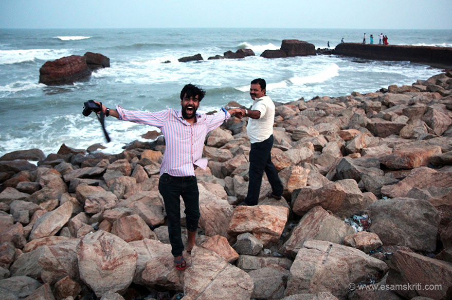 "We drove in from the old Chola capital of Poompuhar to reach about 5.30 pm. Never knew it was a sea shore so were excited. U see pal Rahul and driver Velu on the rocks. ""There is nothing Danish about Tranquebar except its name"". The Indian name of place is Tharangambadi. Places to see Dutch Fort, old Shiva temple and a Neemrana property called The Bungalow on the"