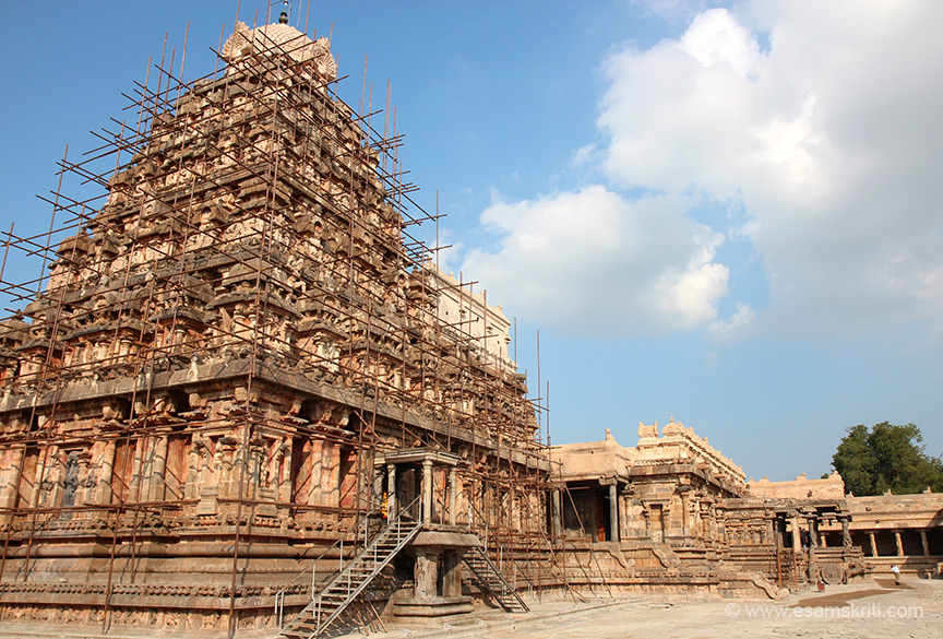 "About 4 kms from Kumbakonam is the Airavatesvara temple at Darasuram. ""Airavatham is an elephant (white in color) and vehicle of Lord Indra. It was cursed by sage Durvasa to lose its shining white. Airavatha came to this temple and regained his color after worshipping the Lord. Hence the deity came to be Airavatesvara (protector of the elephant)."" View of temple, vimana then mandapam with pillars."