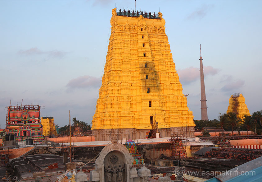 "We reached Rameshwaram at about 7 pm, checked into a good hotel (Rs 800/ per day for non a/c). This trip was in 2016, last went there in 1980. Many more shops, people and hotels. Temple has 4 gopurams in 4 directions, u see 3 in pic. Rising sun rays on main gopuram. This is the Sri RAMANATHASWAMI MANDIR. According to tradition, ""the Lingam here was installed 
