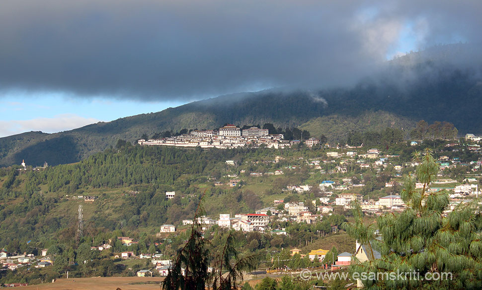 "Tawang town is quite big, up and down hill. The monastery is at one end of the town. An early morning view of the monastery. It was built in the mid 17th century. Tawang is at a height of 11,155 feet. If you suffer from blood pressure problem do check your pressure from time to time esp. if you going to Bumla Border 15,500 feet. To see pics of Drive to Tawang <a href=""http://www.esamskriti.com/photo-detail/Drive-to-Tawang.aspx"" target=""_blank""> Click here </a>"