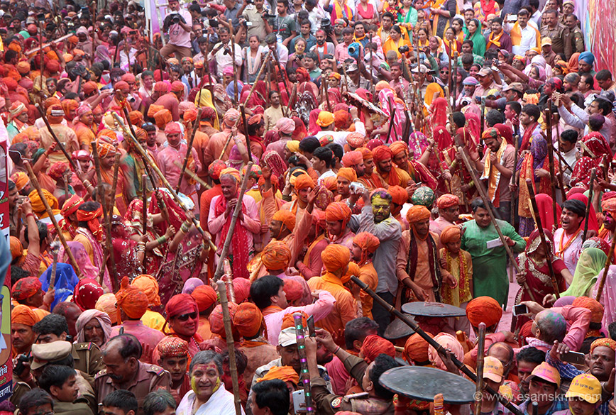 """In March 2016 my dream of experiencing Lathmar Holi in the land of Krishna and Radhe came true. Day one is Laddo Holi. Day two morning is parikrama of Barsana, evening is Lathmar Holi. Women of Barsana hit men from Krishna``s hometown Nandgaon. To see pics of Laddo Holi and parikrama <a href=""""http://www.esamskriti.com/theme-detail/Laddoo-Holi-Barsana.aspx"""" target=""""_blank"""">Click here</a>"""