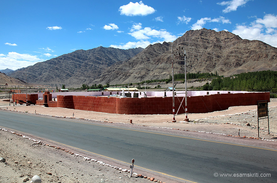Ahead of Hemis Monastery is the Trishul War Memorial. U see an overview. It is about 50 kms from Leh on the road to Manali.