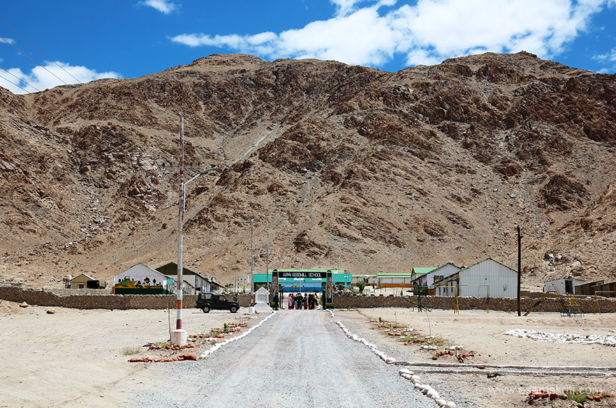 Close to the Trishul War Memorial is the Army Good School. Bottom of hill is school. It was set up in 2001. Classes from Nursery to Class 8. It is the biggest school in eastern Ladakh. Plan is to upgrade to class 10 soon.