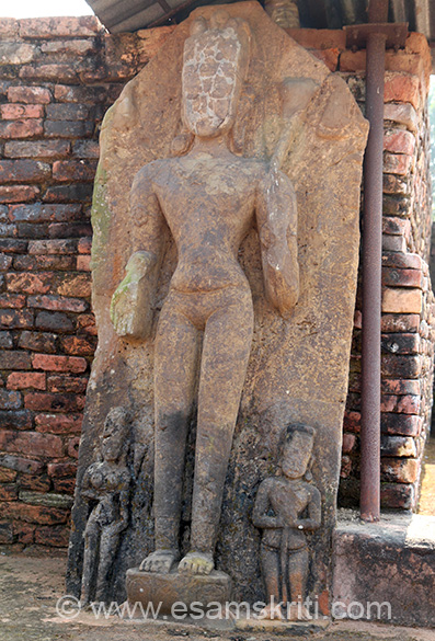 Another image. A brick built monastic complex is exposed after excavation. Govt document refers to stone sculptures of Avalokistesvara flanked Tara and Hayagriva. Please help with caption.