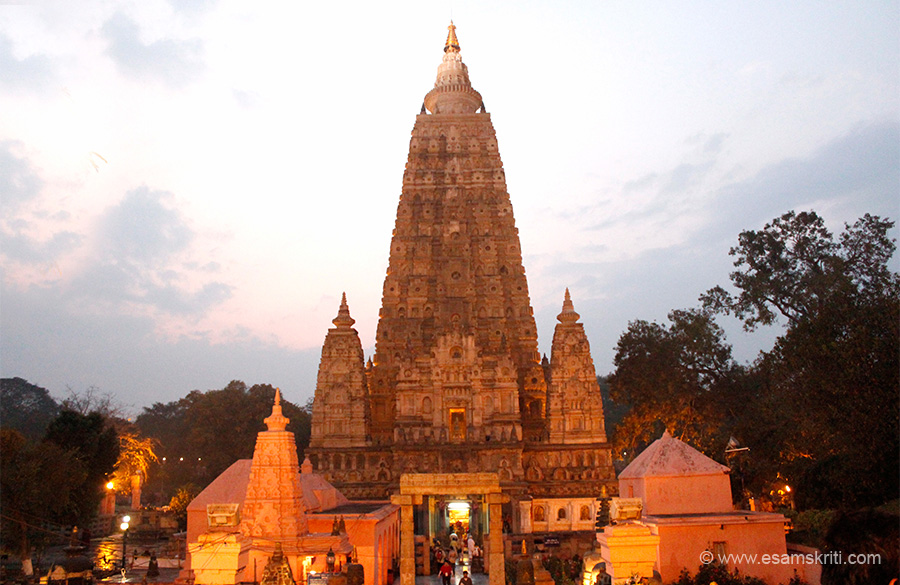 Part one has circumbulation or parikrama around temple and view from each side, seven places where Buddha spent each week of the first 49 days  after enlightenment, Buddha images inside temple. Pic of temple post