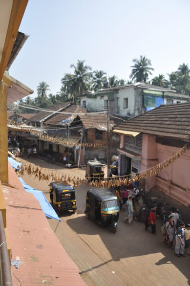 You see street of Gokarna, took this pic from our Guest House room. We paid Rs 600/ per day for a double room in Saujanya Guest House ie in town. There are hotels, shacks, tents at the beach as well but we booked late so had to make the best of wha we got. Gokarna means Cow``s Ear. It is a centre of piligramage and increasingly getting popular for its beaches. The town is about 200 kms north of Mangalore, can be reached from Goa and Hubli. It is well known for Mahaballeswara Temple ie dedicated to Lord Shiva and is often called the Kashi of the South since it is said to be next in sanctity only to the Vishwanath Siva Mandir at Varanasi.