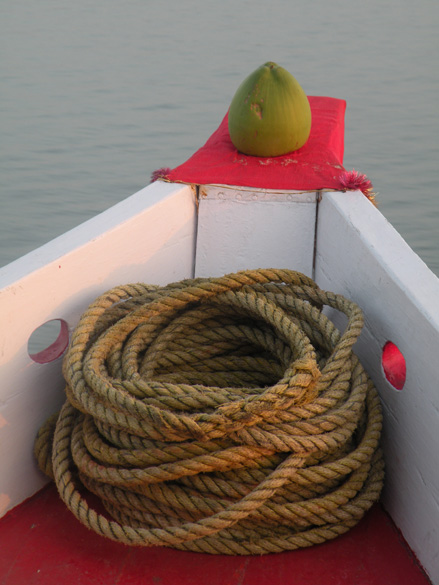 Auspicious coconut and rope at the bow of the MV Bholanath.