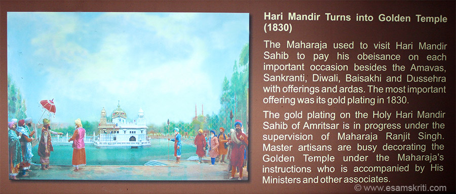 In the Maharaja Ranjit Singh Panorama is this board. He gold plated the temple after which it came to be known as Golden Temple although its earlier name was Hari Mandir. Why Hari? Khushwant Singh wrote