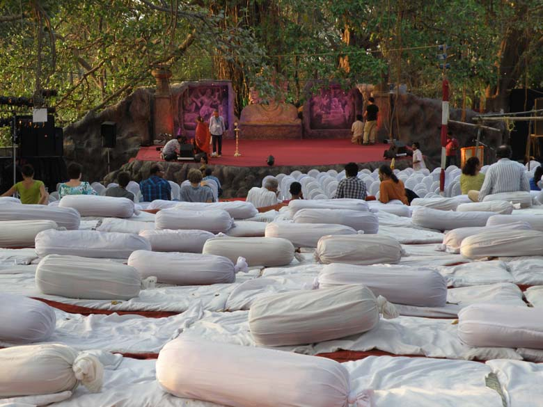 The Maharashtra Tourism Development Corporation organised a 2 day Elephanta Festival (5&6th March) on Elephanta island. Combination of music and dance by renowed artists. We present pictures of day one. Lower level was stage and chairs. Higher up were these gaddas in white that u see.