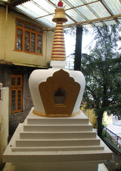 A model of a Gompa in the premises of the main temple. Take a train to Pathankot (broad gauge) and then a narrow line to Kangra.