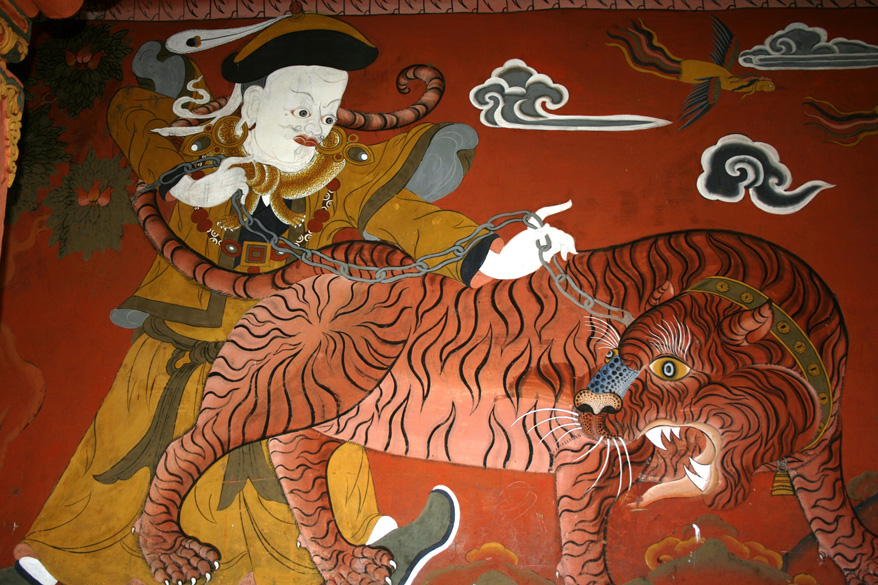 Painting of a saint chaining a tiger. To see Tribal Museum at Munisyari in Uttaranchal <a target=_blank href=http://www.esamskriti.com/photo-detail/Munsiyari.aspx>Click here</a>