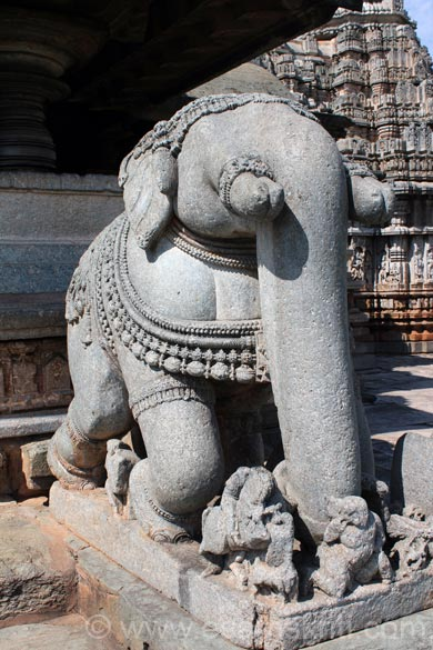 A close up of elephant ie kept at entrance to hall one right side. Note the fine work.