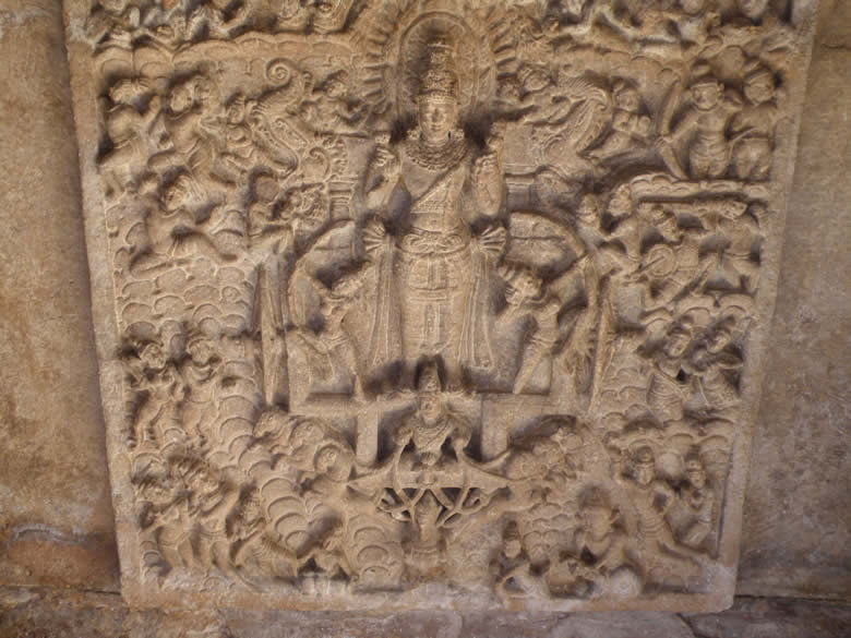 Inner ceiling of the main entry porch ie eastern side has a large ceiling panel displaying Surya, the sun god, an an excellent eg of balance and  composition. The god is accompanied by Usha and Pratyusha with bow and arrow to dispel darkness, in the chariot drawn by seven horses controlled by Aruna, the charioteer-welcomed by gods, semi divine beings in the cloud sky.