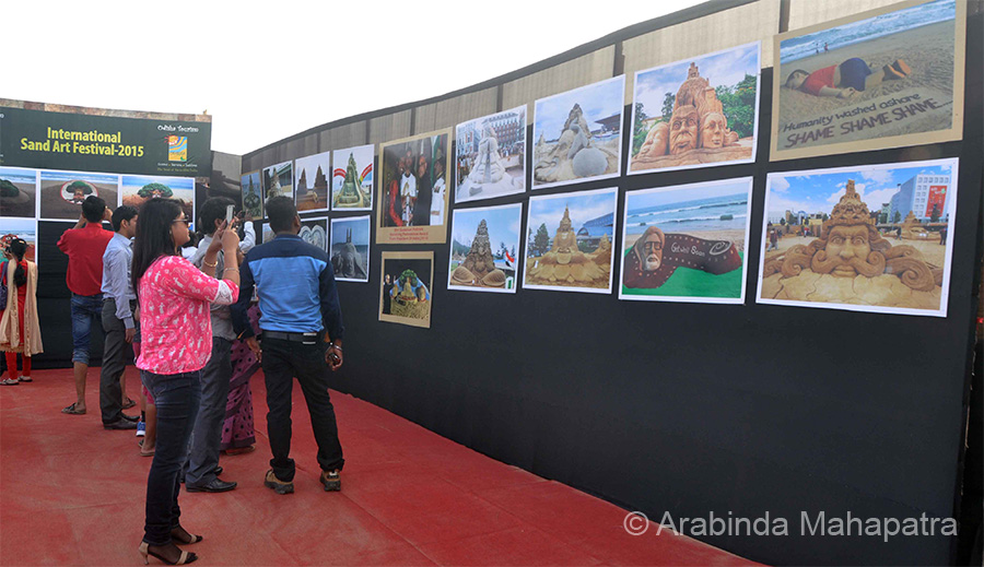 Pictures of earlier festivals on display.