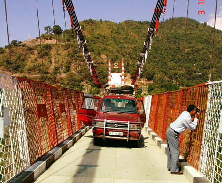 A bridge over Tehri Taal.
