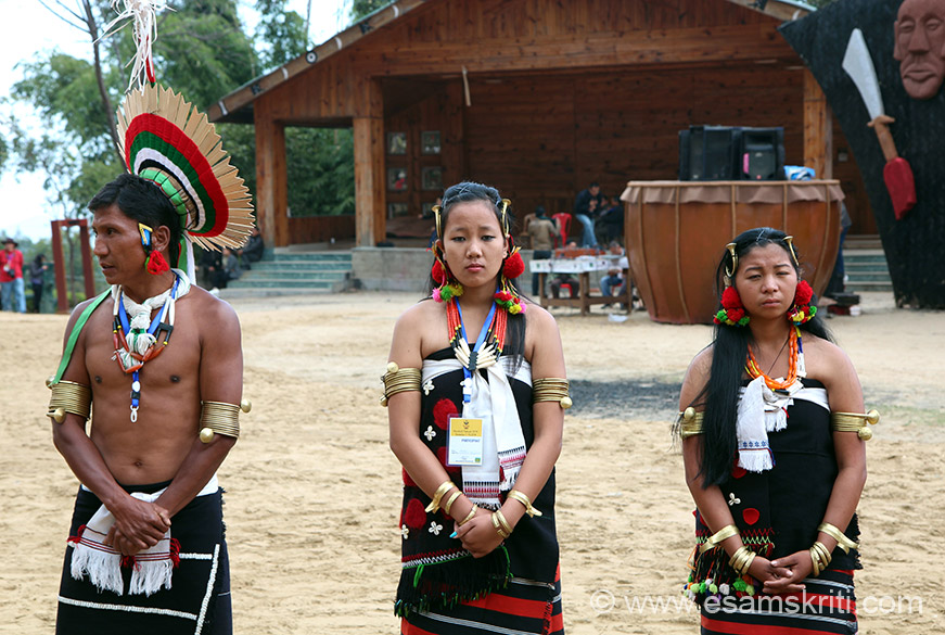 Close up front view of members of Zeliang tribe.