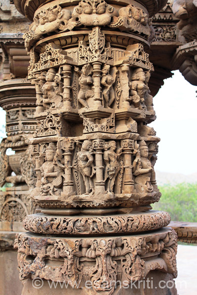 A close up of lower portion of the pillar. Top you see three images with eyes. It is called KIRTI MUKHA i.e. to keep away evil images. Seen them in many temples for e.g. Bodh Gaya Temple