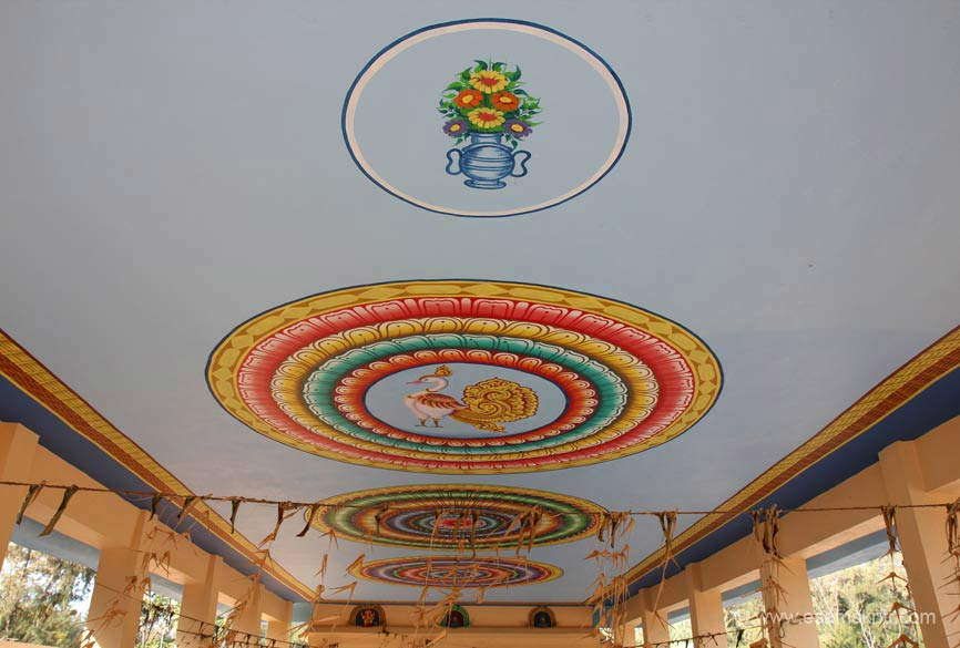Ceiling painting inside temple ie at Jada Theertham.