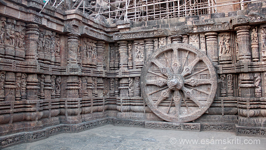Another view of side panel. It took 12 years, 1200 workers and 1500 elephants to make the temple under the supervision of Shivai Samantara Mohapatra.