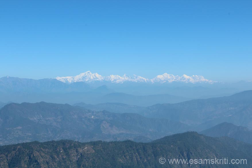 View of Nepal peaks from Binsar Point. Very distant not as clear.