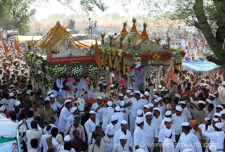 "Palkhi of Sant Tukaram Maharaj. There is another palkhi of Sant Dyaneshwar, could not take that pic. ""Tukaram, arguably  the  greatest  poet  in  the  Marathi  language. Tukaram``s genius partly   lies    in   his    ability    to  transform    the     external   world     into   its    spiritual   analogue."" To know all about Sant Tukaram <a href=""http://tukaram.com/""target=""_blank"">Click here</a>"