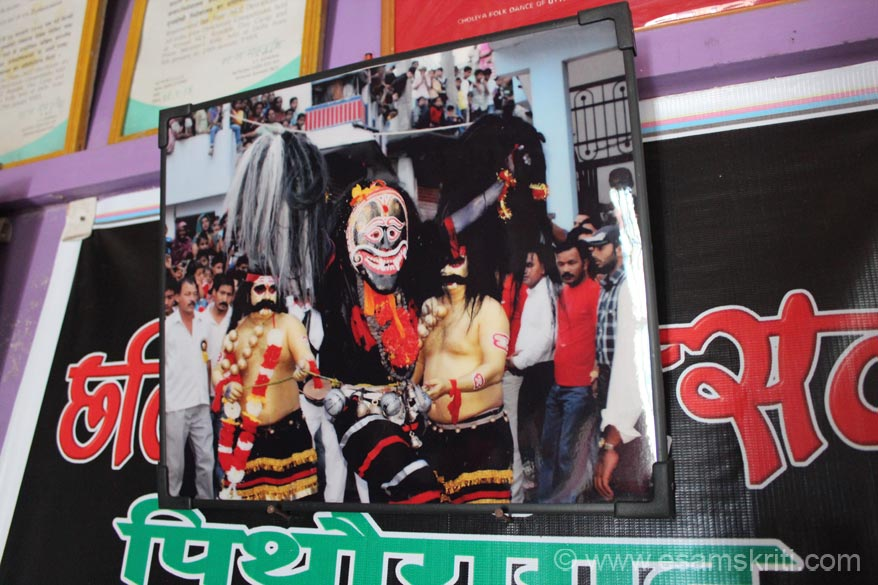 U see pic of HILJATRA. During monsoon season before harvest festival is celebrated. Image that you see is of Lakhiya Bhoot - after the festival he comes and give blessing with white 