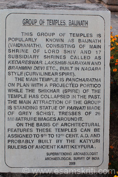 Board inside temple. Consists of 18 temples with the main temple being dedicated to Shivji. The main temple is Pancharatha whose shikhar (spire) has collapsed in the past.
