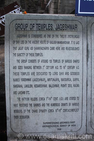 Board outside temple. It was on the earlier Kailas-Mansrovar route. It is said that Adi Shankracharya came here & reestablished the sanctity of these temples. Complex consists of 125