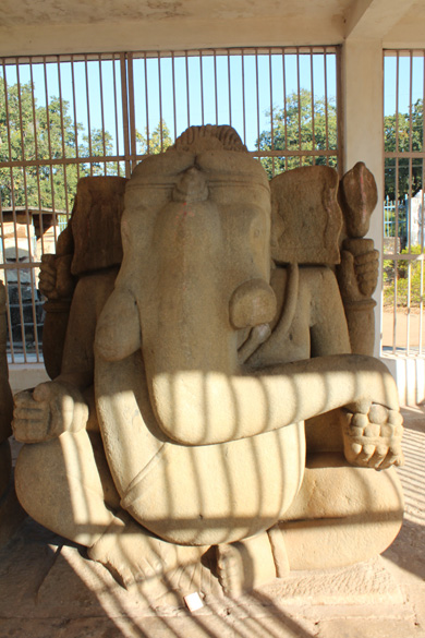 U see bigger of the two Ganeshas i.e. 8 feet high and over 17 feet wide. In complex there was originally a Shiva temple ie now in ruins. Inside the complex authorities made a cage where 