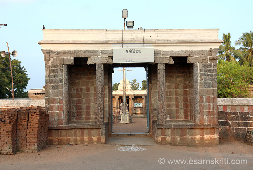"Temple entrance. ""Mangalasasanam (Praised as a holy Shrine) to this temple was done by Thirumangai Alwar (One of the 12 Alwars Saints). This Sthalam (Temple) is one of the 22 Diya Desam Temples in Thondai Nadu."""