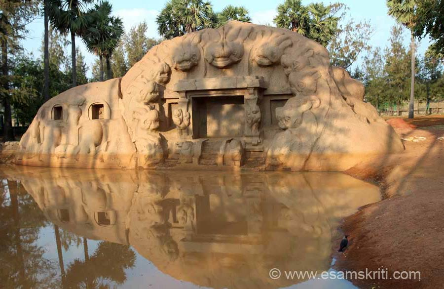 Tiger``s Cave is a rock-cut shrine of Durga approached by steps, has a small portico in front and is flanked by 2 pilasters supported by rampant lions. All around the cell are large lion-heads.