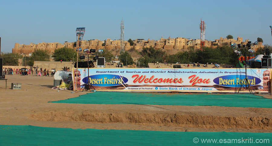 Every year around February Rajasthan Tourism organises the Jaisalmer Desert Festival. It is a 3 day extravaganza. Has folk music and dance, camel races, turban tying competition,