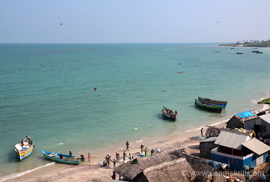 View of fishing village from bridge. Right is all Rameshwaram.