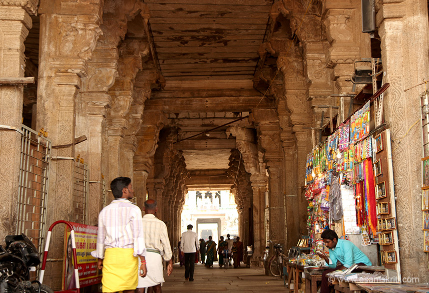 "Way to temple. Area has shops today like in other temples. ""Apas, the water element has great fluidity and is related to the story of Goddess Parvati creating a lingam out of water (Appulingam)