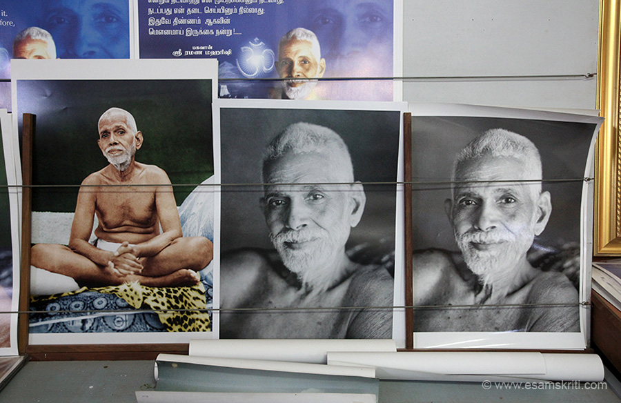 "Pics of Ramana Maharshi in the book shop. Very good shop. ""As a boy of 16 in 1896, he challenged death by a penetrating enquiry into the source of his being. Later hailed as Bhagavan Sri Ramana Maharshi he revealed the direct path of practice of Self-enquiry and awakened mankind to the immense spiritual power of the holy Arunachala Hill, the spiritual heart of the world."""